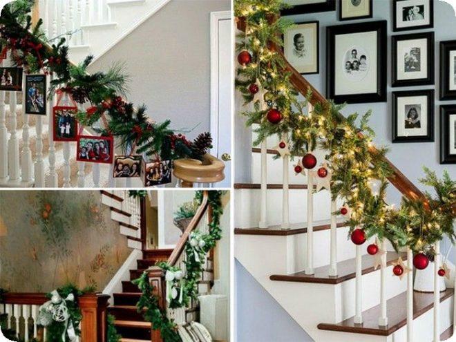 Как украсить лестницу в Новый год - Дача
