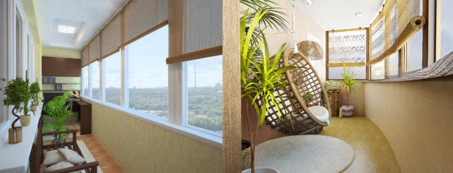 Модные варианты дизайна штор на балкон в 2020