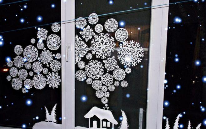 Трафареты и вытынанки на окна в Новый Год 2020