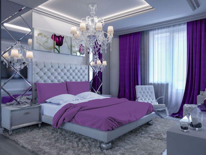 дизайн спальни в сиреневом цвете фото можете