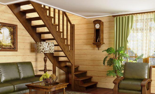 Примеры лестниц на второй этаж, если мало места