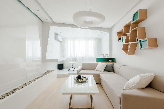 Современный дизайн гостиной 20 кв. м.