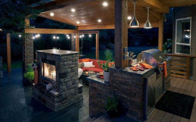 Проекты летней кухни с террасой под одной крышей