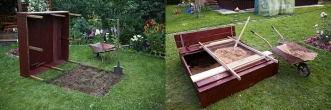 Как сделать песочницу с крышкой-скамейкой