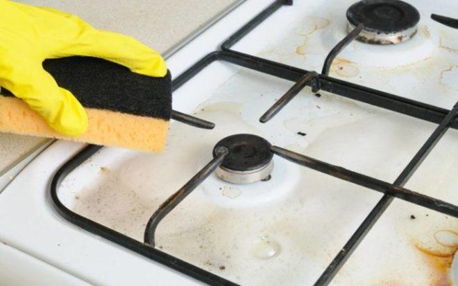 Как быстро отмыть решетку газовой плиты от нагара