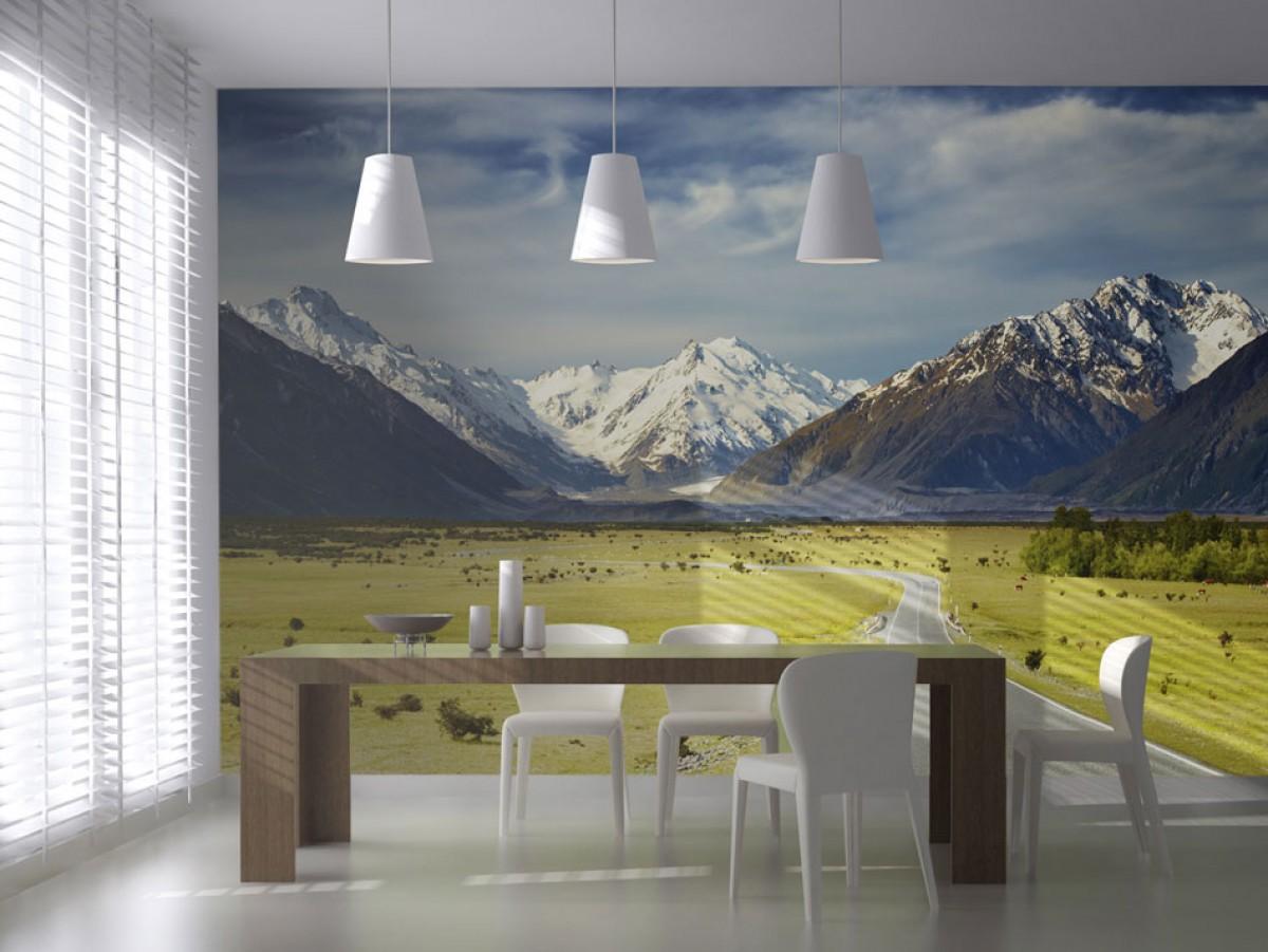 Фотообои 3Д для кухни в скандинавском стиле.