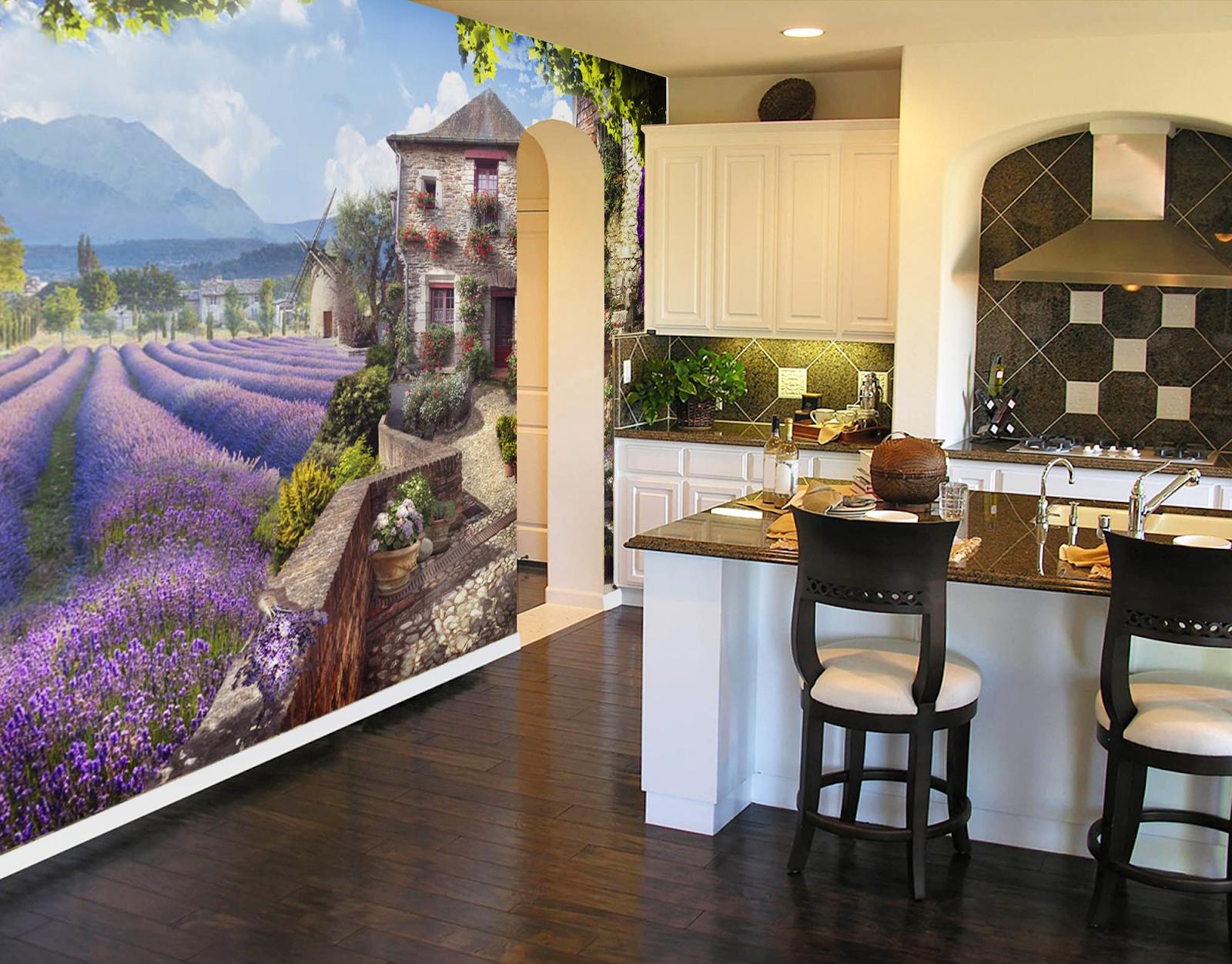 Фотообои на кухню в стиле Прованс.