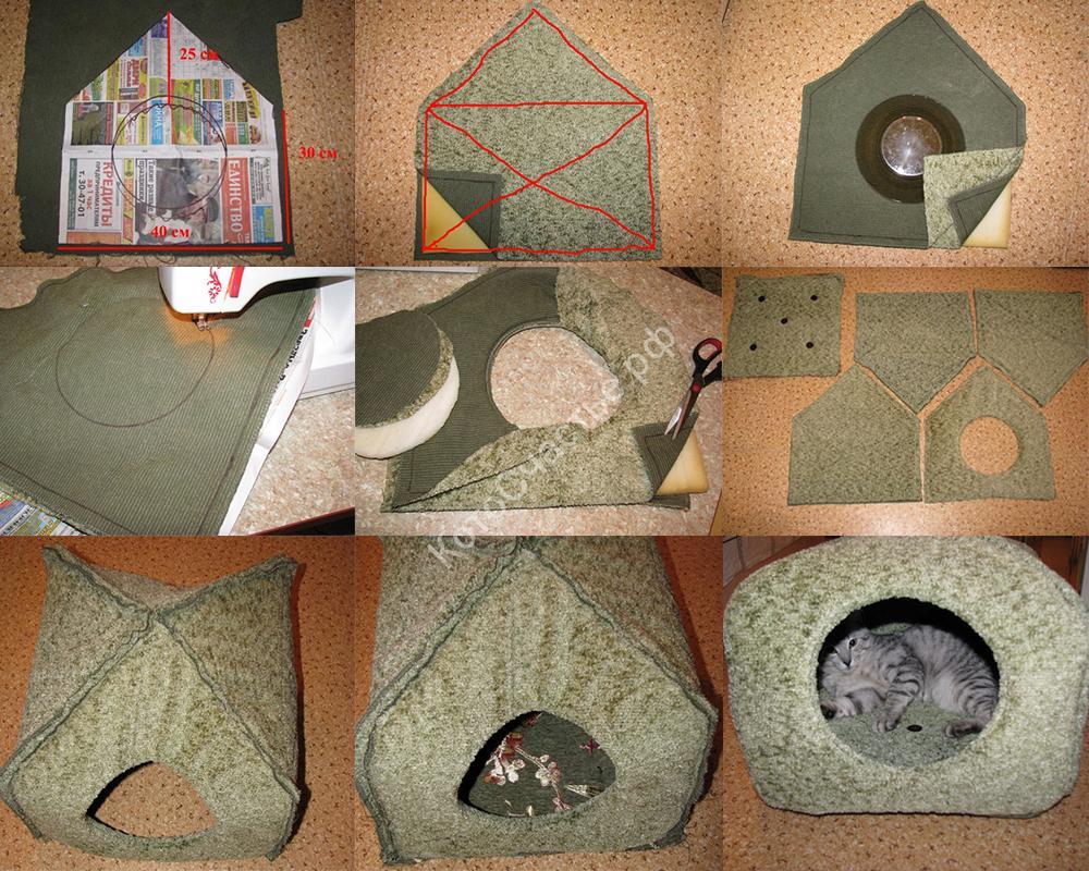 Идея, как сделать домик для кошки своими руками.