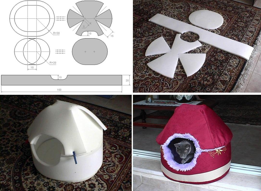 Точная инструкция, как сделать домик для кошки из поролона.