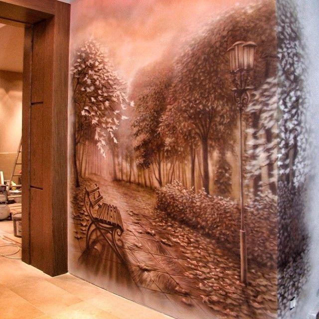 Роспись на стенах в интерьере своими руками 38