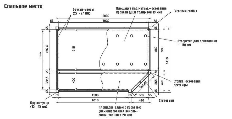 Схема двухъярусная кровать своими руками 12