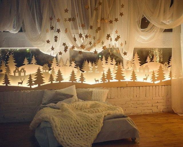 Украшаем спальню на Новый год 2017